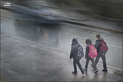 Rainy Monday Trio (rogermccallum) Tags: street wet rain weather three trio raining schoolboys