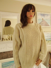 Unisex stylish aran wool sweater (Mytwist) Tags: old irish heritage fashion lady vintage moss sweater fisherman soft hand stitch little traditional dream cream ivory style goose lilac cables popcorn fancy jumper knitted aran snuggly crewneck ecry vnt