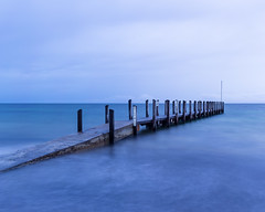Quindalup Jetty (Rodney Topor) Tags: blue panorama seascape rain dawn jetty westernaustralia canonef50mmf14usm quindalup quindalupjetty