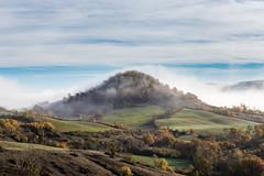 The foggy hill (ElmerstarK) Tags: color morning autumn colline matin smoke brouillard nature mist paysage aveyron fog automne hill landscape brume saintaffrique midipyrénées france fr lightroom exterieur outdoor