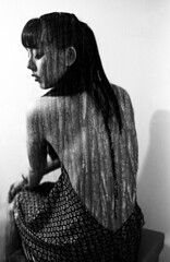 Bark. (LillyYellow) Tags: wood woman white black film bark