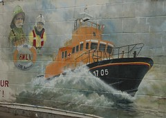 Lifeboat Mural (mark_fr) Tags: light red sea rescue lighthouse house water female point store high search break traffic head wildlife yorkshire low debris north royal vessel pride east deer institute lifeboat national trust whale surge tidal carcass services humber settlement gunpowder breakwater rnli yorks wheatear 1895 peninsular spurn oenanthe 1852 vts ywt ravenspurn gmcgh