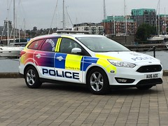 AU16AOO Ford Focus Estate of Norfolk and Suffolk Police in Pride livery (Ian Press Photography) Tags: au16aoo ford focus estate norfolk suffolk police pride livery gay 999 emergency service services