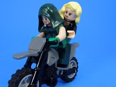 Bike Ride (MrKjito) Tags: lego minifig green arrow black canary bike motor cycle date night ship super hero comic comics dc oliver queen dinah lance