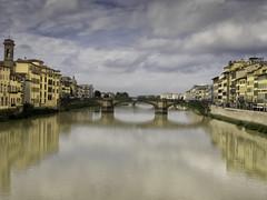 Ponte Santa Trinita from the Ponte Vecchio (C@mera M@n) Tags: arnoriver bridge clouds firenze florence italy place pontesantatrinita pontevecchio reflection river sky water bridges buildings outdoors renaissance