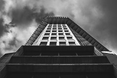 Facade. (ThePhotographersRepublic) Tags: brutalistarchitecture brutalism blackandwhite blackwhite lookup architecture clouds a7r canonef35mmf14l canon fullframe concrete