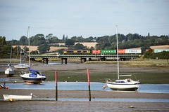 In the mid September sunshine, GBRf Loco 66707 heads the Felixstowe North - Hams Hall Intermodal service across  River Stour, at Manningtree. 12 09 2016 (pnb511) Tags: great eastern mainline geml river stour mud water essex suffolk estuary birds swans train trains loco locomotive class66 intermodal gbrf blue sky