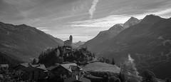Hill Top Church (Andrew Emmett) Tags: frenchalps alps church x70 fujix70 fujifilmx70 primelens blackwhite blackandwhite landscape village mountain mountains