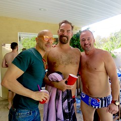 IMG_0236 (danimaniacs) Tags: party shirtless man guy sexy hot bald hairy hiary beard scruff trunks bathingsuit smile bulge