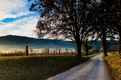 Hyatt Lane in Cades Cove...(Explore 10/27/2016) (ArmyJacket) Tags: tennessee cadescove greatsmokeymountainsnationalpark gsmnp mountains valley outdoors natural scenic country road sunrise