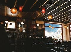 Cafe (tarkushoo) Tags: film 120 medium format 645 mamiya m645 cafe indoors bar ceiling lights portra 400