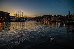 Harbour twilight...... (Dafydd Penguin) Tags: bristol floating harbour sunset twilight gloaning hour sun water reflections swan vessel ship boat wide angle low light city urban centre lights night nikon df nikkor 20mm af f28d
