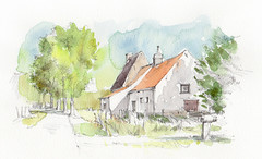 Middelkerke, Zwarteweg, België (Linda Vanysacker - Van den Mooter) Tags: watercolour visiblytalented vanysacker vandenmooter tekening sketch schets potlood pencil lindavanysackervandenmooter lindavandenmooter drawing dessin croquis crayon art aquarelle aquarell aquarel akvarell acuarela acquerello kasteel château castle manoir frankrijk france middelkerke zwarteweg belgië