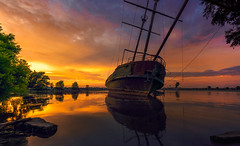 TBT (I miss you summer!) (Todd Murrison (Whitby61) off for a while) Tags: lagrandehermine ship jordanharbour ontario canada summer2016 reflection water goldenhour tbt shoreline breakwater niagararegion shipwreck sunset horizontal colourful pirate getaway tourism july trees submerged evening silhouettes toddmurrison hull lighthouse lakeontario lincolnontario serene calming imissyousummer rusty relic afloat throwbackthursdays ngc