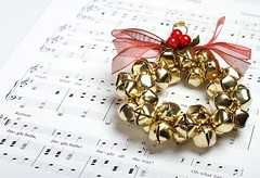 Jingle Bells (Karen_Chappell) Tags: music white gold red bell bells wreath xmas noel christmas jinglebells sheetmusic paper ribbon bow song stilllife holiday
