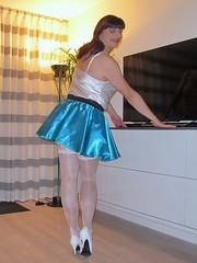 Sexy stockings (Paula Satijn) Tags: sexy hot girl gurl tgirl skirt miniskirt blue satin silk silky shiny stockings white legs heels pumps stockingtops lace bum ass smile happy girly transvestite