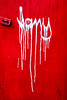 Dripping white tagging (Chris Huddleston) Tags: wood runny letters abstract drip red plywood noperson painted white