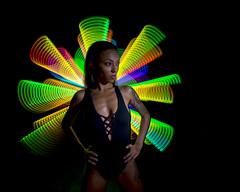 Waving lights with Aisha (Waving lights in the dark) Tags: rgb rgbled wand digitallightwand hob photoshoot lightpainting shotinoneexposure wavinglightsinthedark model glamour beauty swimsuit studio