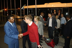 Deputy Special representative of the UN Secretary General of MONUSCO Mamadou Dialo welcomes members of security council at the Ndjili International Airport in Kinshasa. (MONUSCO) Tags: unsc drc rdc monusco