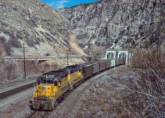 Westbound Taggart, UT, March 26, 1986 (blair.kooistra) Tags: unionpacific gp30 parkcity webercanyon ogden echo utah utahrailroads branchlinerailroads