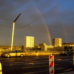 Hardbrücke Morning: rainbow (1/3) (jaeschol) Tags: europa hardbruecke kantonzürich kontinent kreis5 morgen morning regenbogen schweiz sonne stadtzürich switzerland wetter zeit