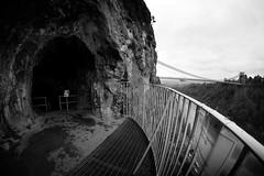 The cave and the Bridge (weirdoldhattie) Tags: bristol bridge clifton cave brunel giantscave cliftonsuspensionbridge wideangle samyang8mm avongorge riveravon bw blackandwhite monochrome