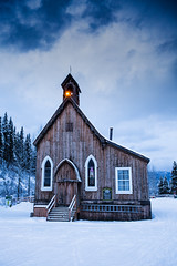 St Saviour's Anglican Church (robertdownie) Tags: sky winter cold blue clouds old white snow wood dark windows rustic ominous canada bc anglican church carpenter gothic bakerville st saviours