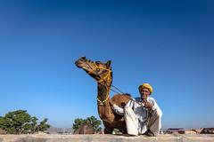 Proud Herder (Karunyaraj) Tags: pusharfair pushkar camel camelherder proud potrait turban blue bluesky friend rajasthan india indian outdoor cwc cwc561 chennaiweekendclickers nikond610 d610 tokina tokina1735