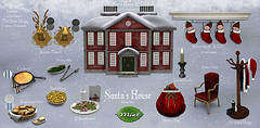-Mint- Santas's House Gacha @ The CrossRoads (Dollette Galicia) Tags: secondlife crossroads mint mesh original event gacha santa clause chair bag baby elfs elves cookies milk christmas card xmas house