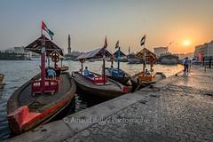 Deira Dubai Creek (http://arnaudballay.wix.com/photographie) Tags: 2016 bateau deira dubai nikond610 novembre uae miratsarabesunis ae abra dubaicreek sunset streetphotography mosque flag emirates