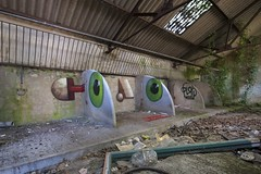 Color (tombomb20) Tags: street uk abstract color detail art graffiti eyes paint cattle market decay shed surreal spray explore worm graff derelict damp ue urbex 2015 tombomb20