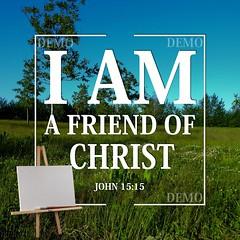 """""""Ik ben een vriend van Christus"""" Canvasdoek (Zalving.nl - De Zalfolie Webwinkel) Tags: poster god jesus canvas identity yeshua proclamation doek christelijk christelijke"""