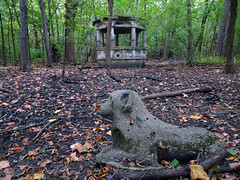 """Hartford """"Castle"""" Stone Dog (Wits End Photography) Tags: wood old autumn sculpture dog plant tree art fall abandoned nature colors leaves architecture america forest season concrete outside leaf illinois ancient woods ruins midwest alone exterior outdoor decay neglected cement ruin gazebo structure pale well foliage faded forgotten american worn vegetation lone weathered crumble discarded forsaken left solitary rejected hartford bleached faint outcast washedout eroded dumped castaside discolored"""