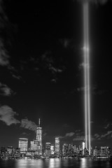 September 11th Tribute in Light 2015 (BrianEden) Tags: nyc ny newyork newjersey jerseycity fuji unitedstates manhattan worldtradecenter 911 nj september fujifilm wtc sept11 september11 11th neverforget lowermanhattan tributeinlight tributeinlights xpro1