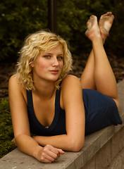 Kjerstin VIII (digitalVerve) Tags: summer portrait people woman feet beauty garden model eyes outdoor tan curls greeneyes curly blonde freckles beautyspots dirtyfeet