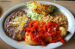 Chile Relleno and Taco at La Choza (deeeelish) Tags: chile cheese beans rice tacos lettuce relleno