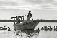 two guys fishing BW (tesseract33) Tags: world travel light people art pelicans monochrome birds mexico fishing d300 tesseract blackaandwhite peterlangphotography squamishphotographer baradenavidad