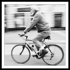 Speed (vinfor) Tags: street blackandwhite bw monochrome bike bicycle square photo border streetphotography vehicle ricoh ricohgr primelens squarephotography