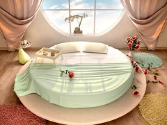 3d illustration of interior with a round bed and a round window in the romantic style (mstepine) Tags: new wood pink light roses white house home window lamp rose wall comfortable modern relax carpet dawn design living 3d bed bedroom heaven apartment floor bright furniture sleep contemporary interior render room decoration mint lifestyle property style indoor nobody ukraine minimal pillow domestic blanket tray curtains romantic rest inside recreation bedside comfort relaxation decor household residential luxury bedding elegance salver