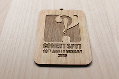 Custom Company Ornaments - Comedy Spot (thea superstarr) Tags: wood cut laser alder madeinusa lasercut laserengraved 6by6arts