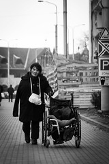 (rollpixphotography) Tags: street city urban white black wheelchair homeless emptiness hopeless
