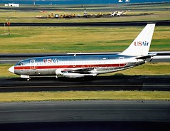 US Air                                          Boeing 737                               N205AU (Flame1958) Tags: print scan loganairport boeing bos bostonloganairport 737 usair b737 boeing737 b737200 kbos b7373 n205au usairb737 usairb7372