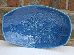 Kitsch Cool Mid Century Modern 1960's Rimini Blue Dragon Bowl Made In Italy ..Italian Pottery (beetle2001cybergreen) Tags: blue italy yellow modern century cool italian dragon vivid kitsch bowl rimini made underside 1960s piece has mid in potterythis