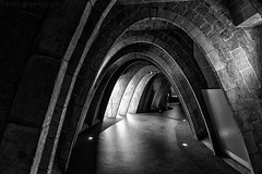 Attic Archways-20151113-36063-5DM3-Spain-Barcelona (sandy_gennrich) Tags: barcelona city urban bw espaa architecture hall spain interior empty curves arches nopeople hallway gaudi attic es depth casamila casamil antonigaud spainespaa