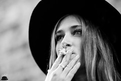AVENIR (ChristopheSC) Tags: canon cute shy eos 6d woman girl chapeau smoke beauty beatiful pretty portrait shooting eyes head paris france flickr hair french femme hand young adult addict best black white blackwhite friends love