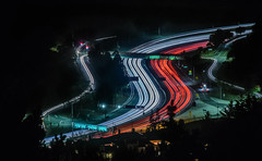 roadside assistance (pbo31) Tags: california nikon d810 color night dark black october fall 2016 eastbay alamedacounty boury pbo31 hillerhighlands oakland lightstream traffic motion highway 24 ramp tunnel