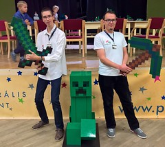 Giant LEGO Minecraft Creeper (KLIKK Hungarian LEGO Fan Community) Tags: lego minecraft creeper statue sculpture kockafeszt hungary klikk pcs exhibition moc event fan festival show