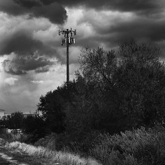 Lightning Lure (arbyreed) Tags: arbyreed celltower communicationstower bw squareformat storm thunderstorm stormclouds clouds darkclouds darksky telegraphtuesday