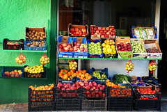 Juicy colours (jimiliop) Tags: fruits variety colors store shop vegan boxes green wall apples lemons oranges tomatoes mediteranean food fresh traditional grapes vegeterian abundamce greece