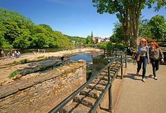 People enjoying the river Dee at Llangollen, North Wales.